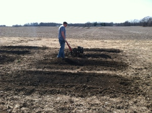 Adam tilling up the soil to create our garden beds.