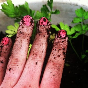 Potting soil really brings out the color in my mani.
