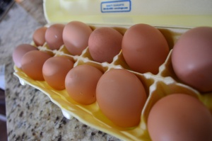 I used a dozen eggs we had stocked up in the fridge.