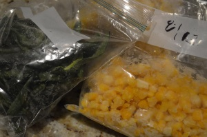 Frozen garden poblano peppers and sweet corn