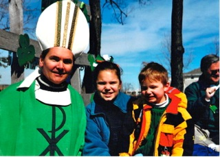 My dad, the Irish man, in his element as St. Patrick with me and my brother.  Cerca 2000