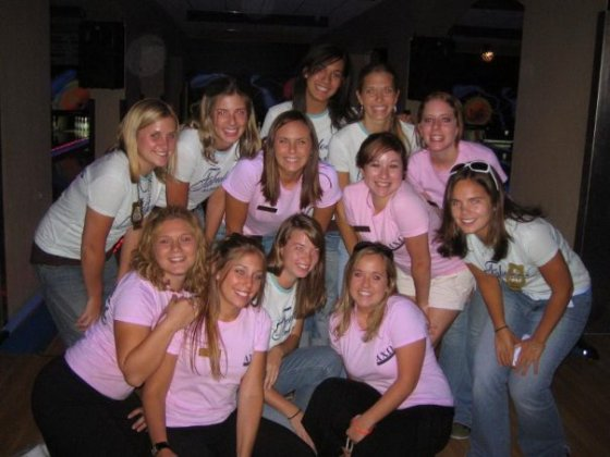 Bid Night 2005.  New members were in blue.  Kelsey is on the far left.  Amy is in the center right.  Yours truly has the big, blingy, white sunglasses on her head.
