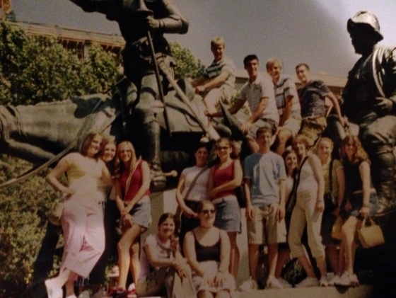 At the Don Quixote statue in Madrid, Spain in 2004.  I am in the center in the red tank top.