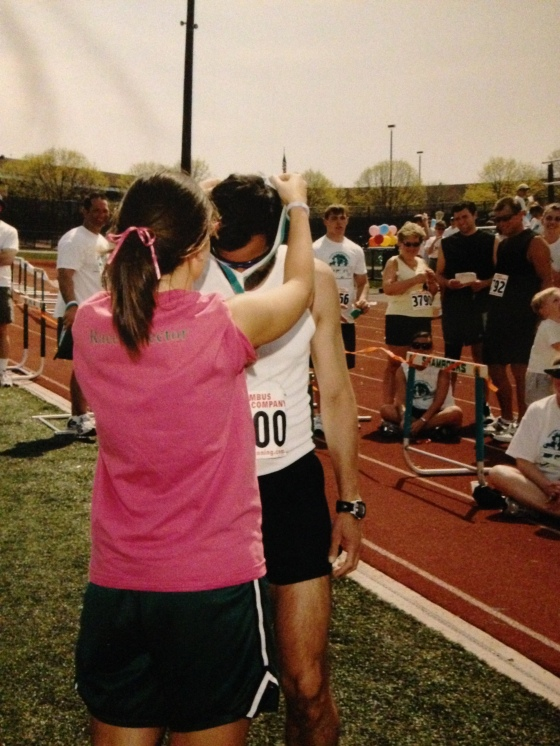 Awarding the winner of the 5K in 2005.